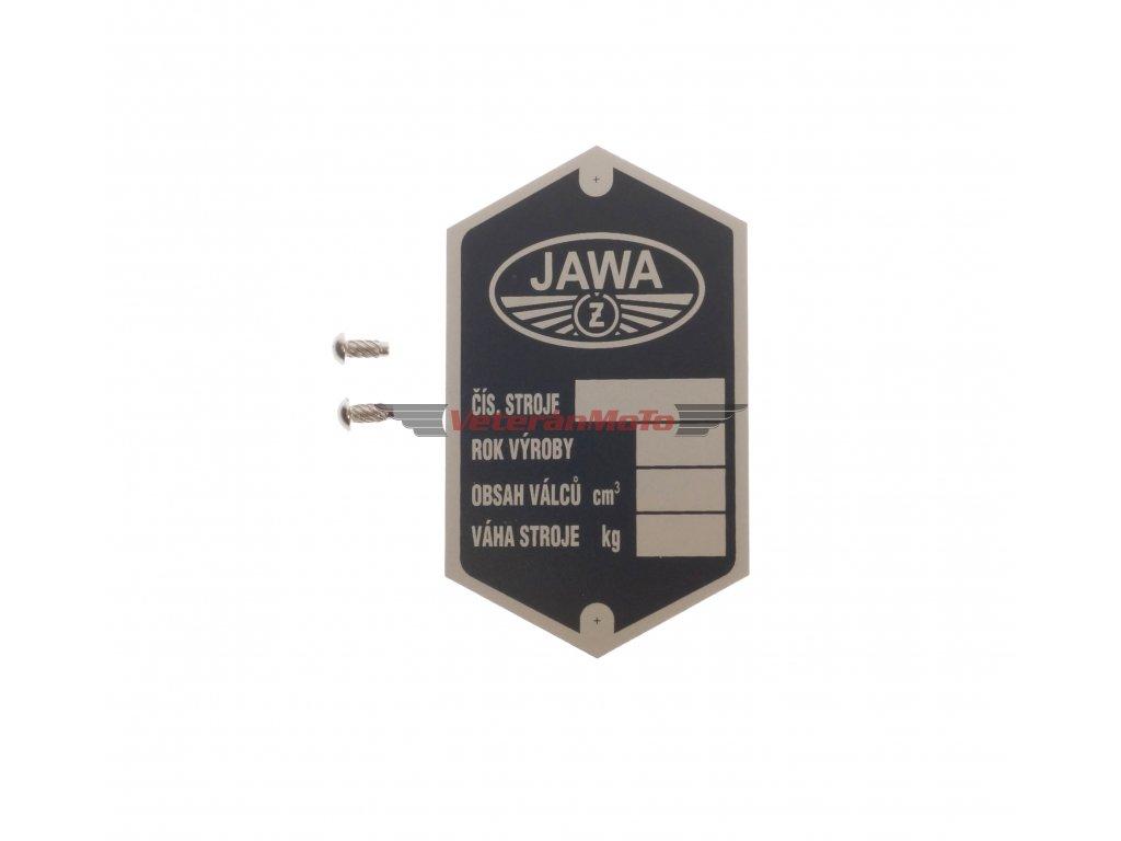 Štítek výrobní - rámu s nýty - tištěný JAWA PÉRÁK, KÝVAČKA 250 půlbuben
