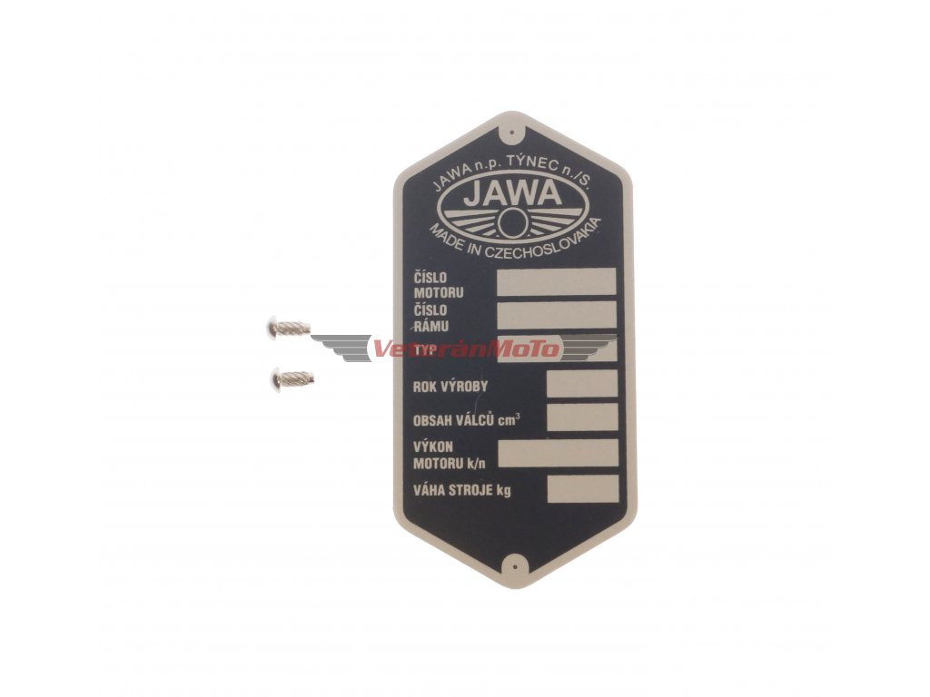 Štítek výrobní - rámu s nýty - tištěný JAWA n.p. TÝNEC JAWA, ČZ 250/350
