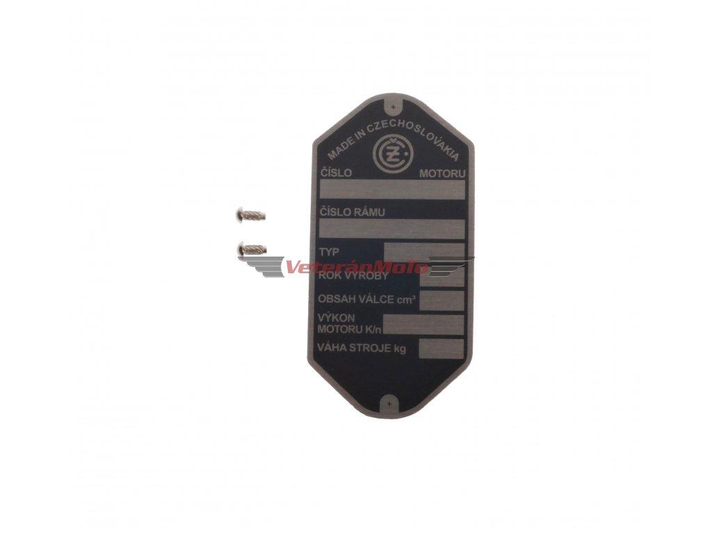 Štítek výrobní - rámu s nýty - tištěný ČZ 125, 175, 250