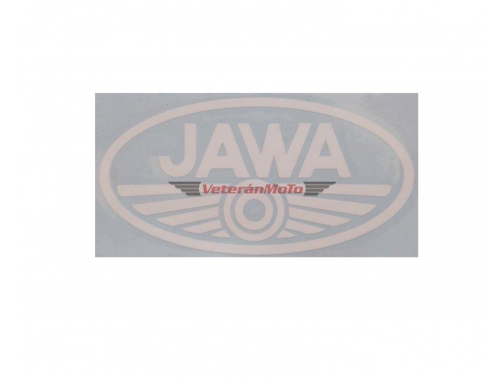 Nálepka / samolepka JAWA bílá oválná 100x50mm
