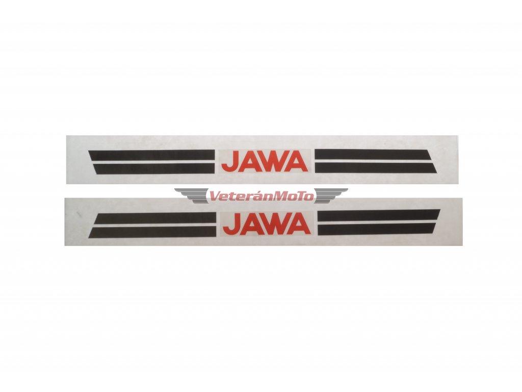 Nálepka  / samolepka na nádrž s transparentním podkladem JAWA 50 MUSTANG sada / 2ks 295x35mm