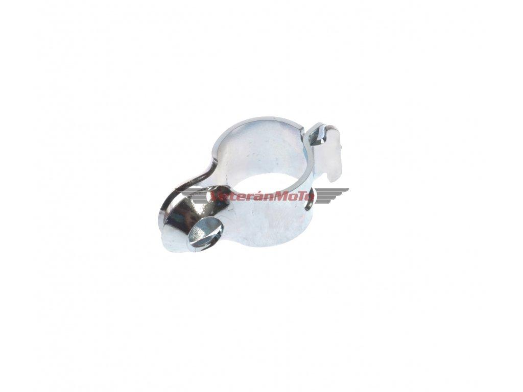 Objímka zrcátka o průměru 8mm s přichycením na řídítka 22mm na řídítka - zinek JAWA, ČZ