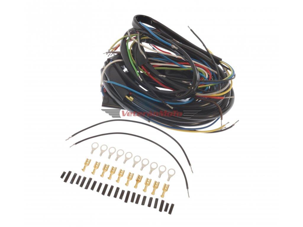 Elektroinstalace /kabeláž kompletníse spínací skříňkou na nádrži, kontrolky rychlostí JAWA PÉRÁK
