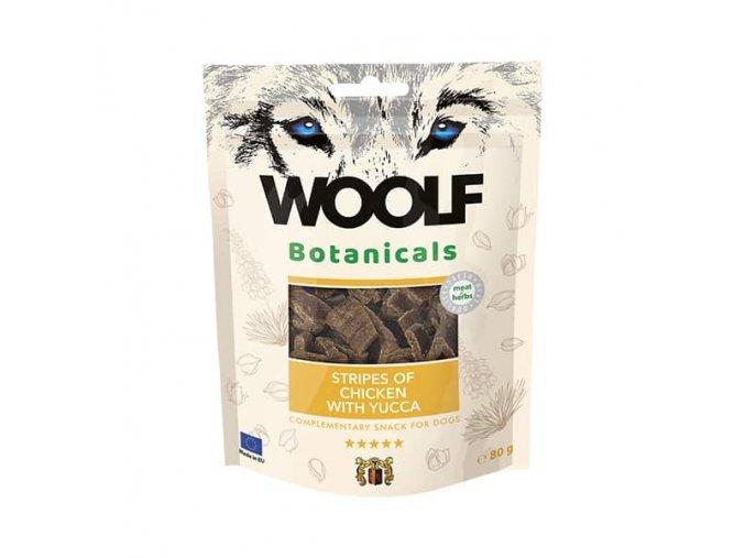 Pamlsok Woolf Dog - Kuracie prúžky s jukou 80 g