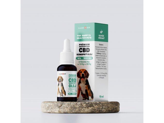 Olej konopný CBD 10% 10 ml (270 kvapiek) pre stredné psy od 12 kg do 22 kg