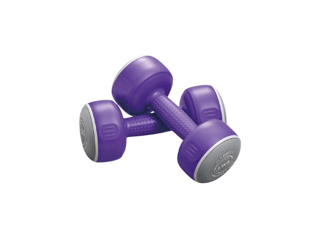 Jednoruční činky 2 x 2,5 kg, fialové