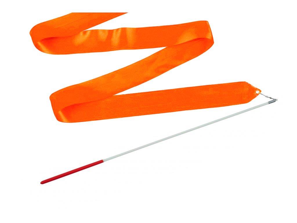 Dětská gymnastická stuha s tyčkou tmavě oranžová 2 m