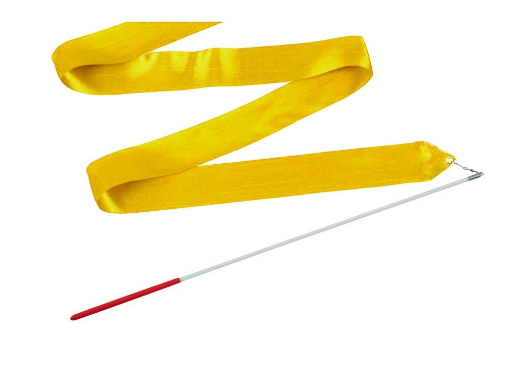Dětská gymnastická stuha s tyčkou tmavě žlutá 2 m