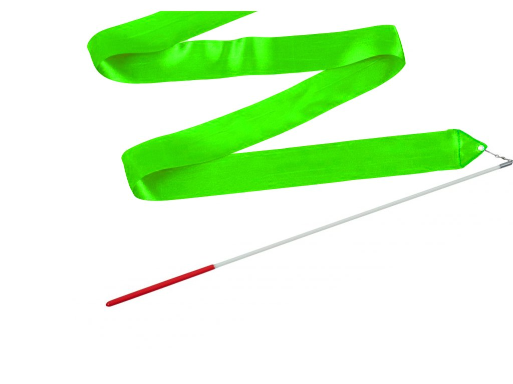 Dětská gymnastická stuha s tyčkou zelená 2 m