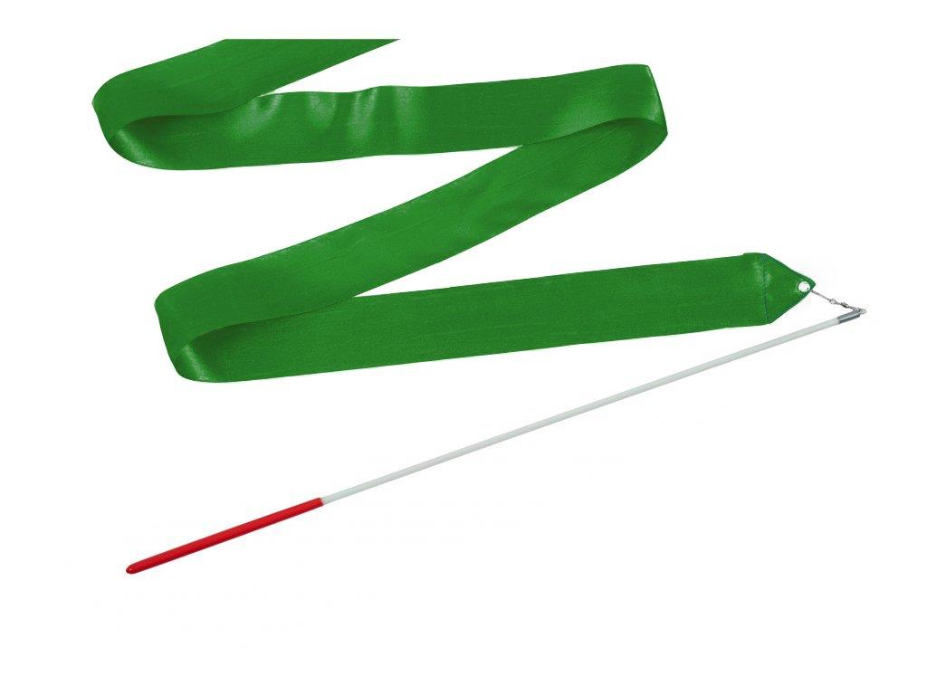 Dětská gymnastická stuha s tyčkou tmavě zelená 2 m