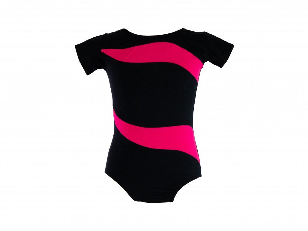 Bavlněný gymnastický dres s krátkým rukávem růžovo-černý