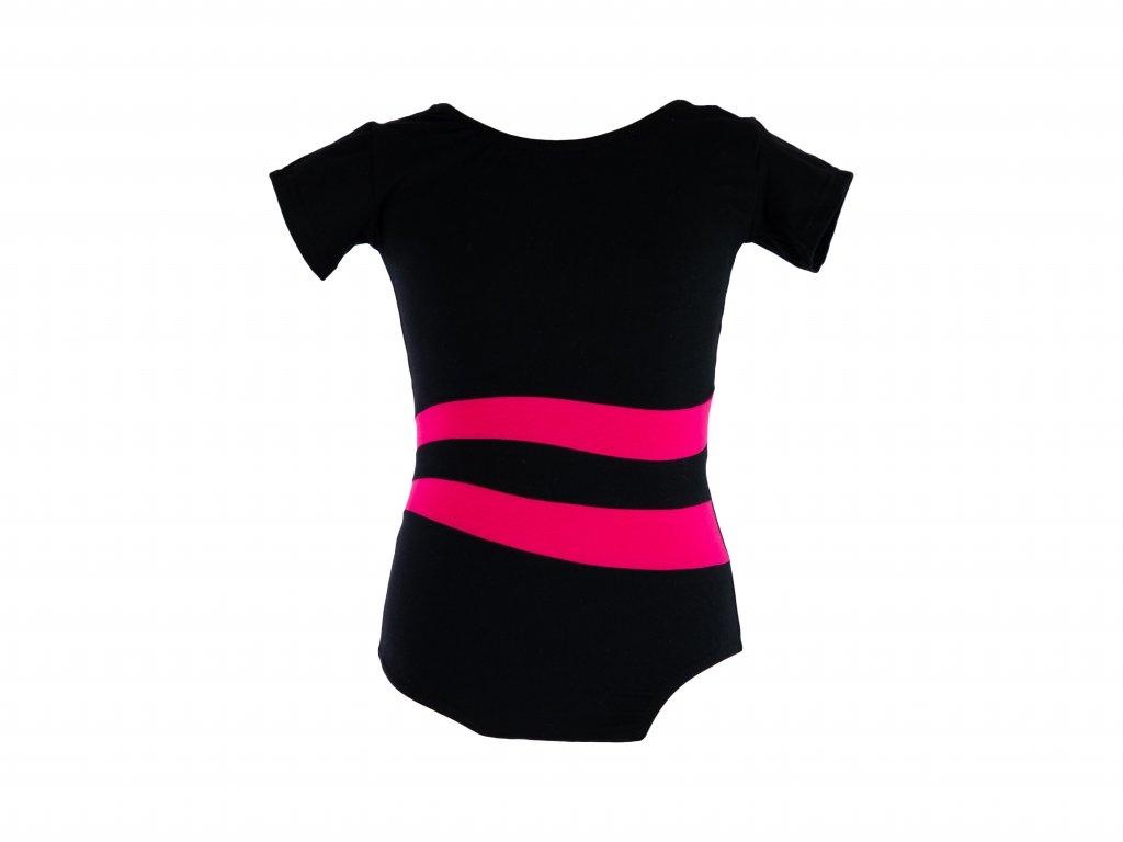 Bavlněný gymnastický dres s krátkým rukávem černo-růžový