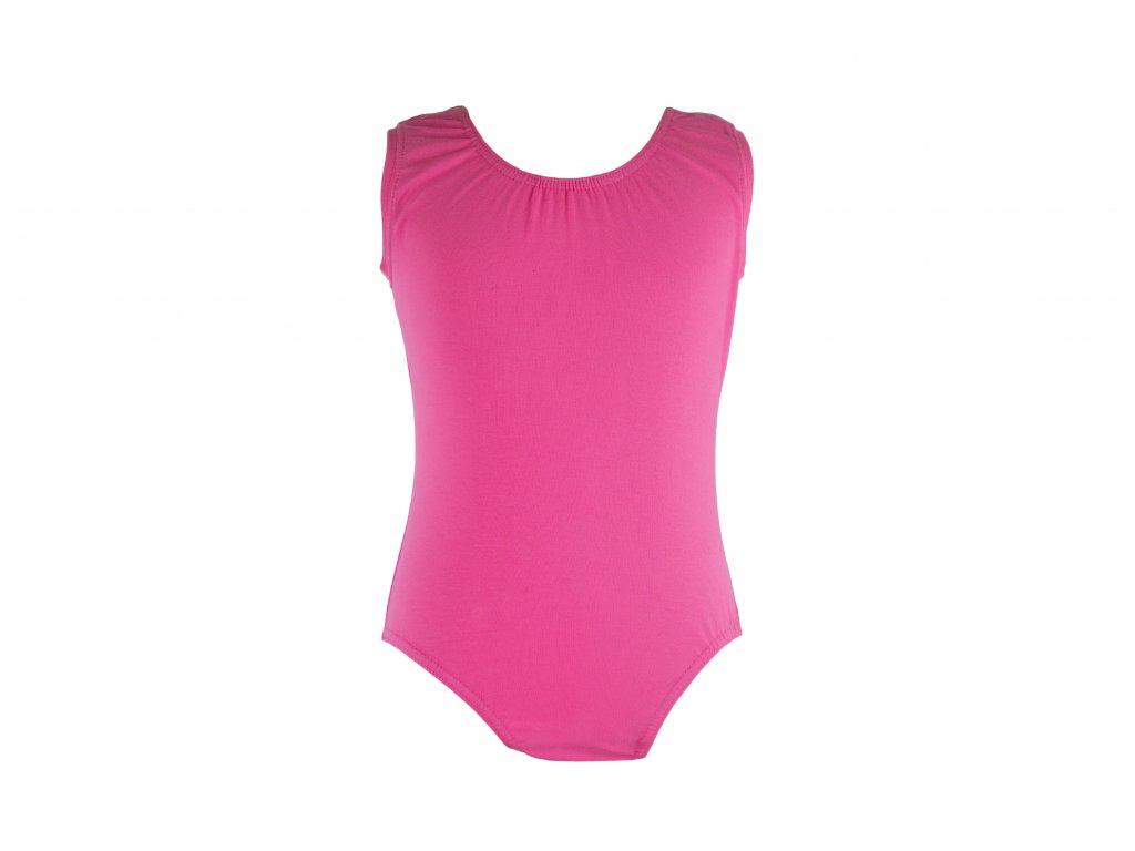 Bavlněný gymnastický dres bez rukávu světle růžový