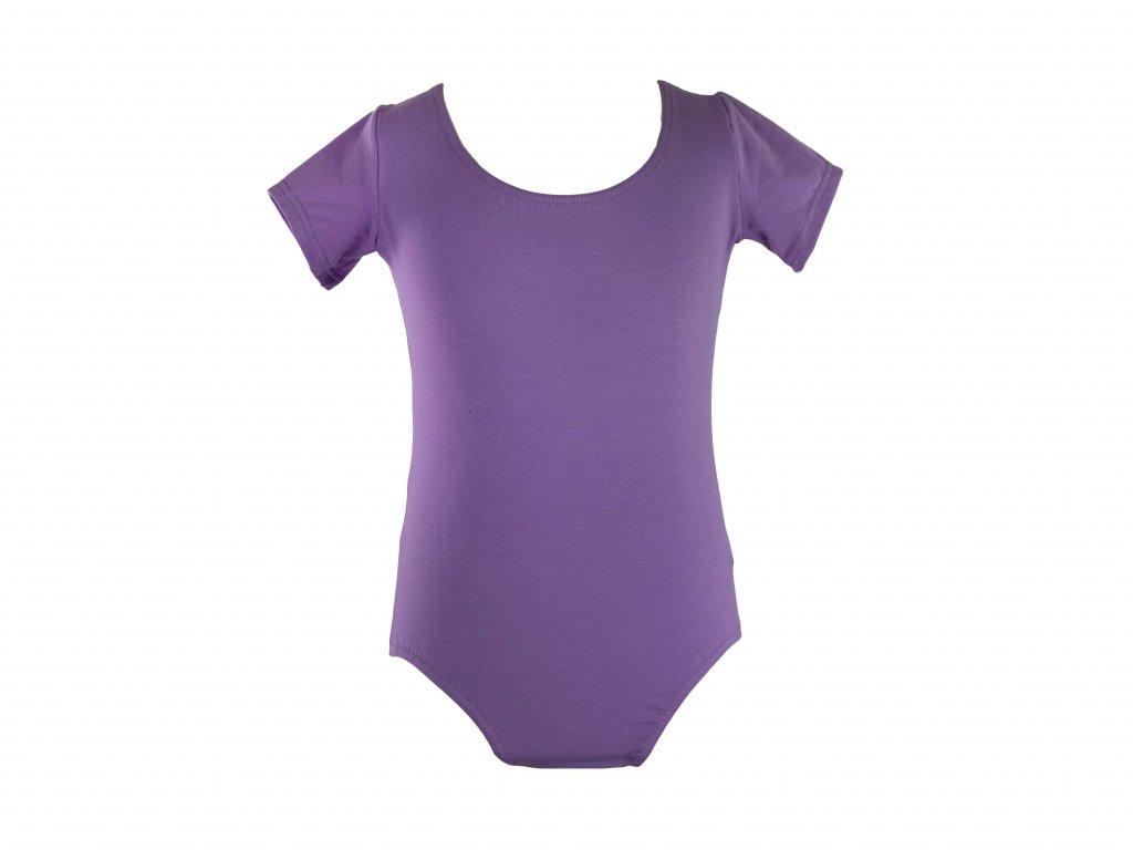 Bavlněný gymnastický dres s krátkým rukávem světle fialový