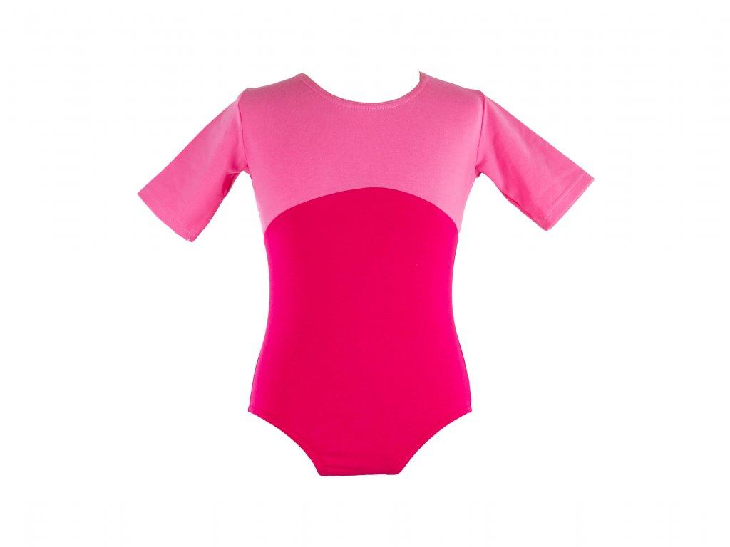 Bavlněný gymnastický dres s krátkým rukávem Duo růžový