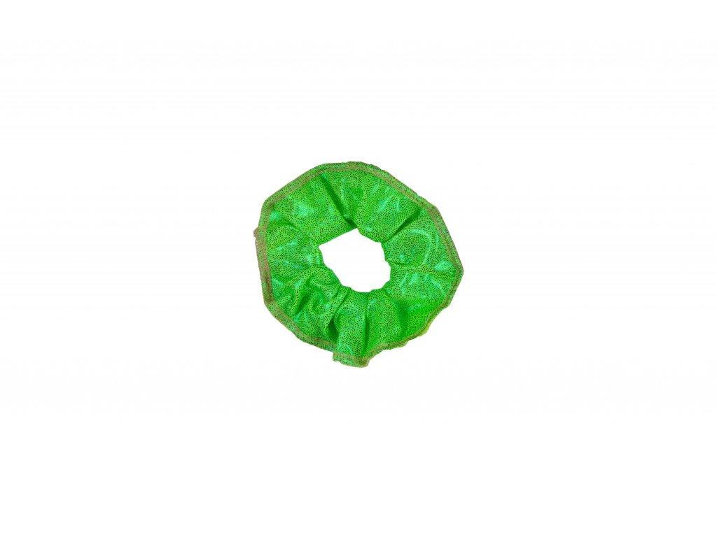 Gumička do vlasů VFstyle s hologramem zelená
