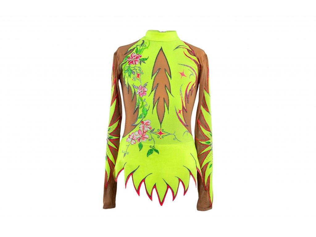 Gymnastický dres Aida fluo žlutý