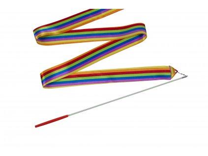 Dětská gymnastická stuha s tyčkou duhová 2 m