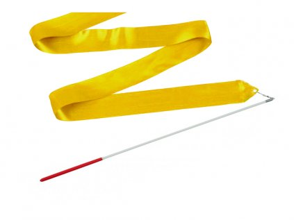 Gymnastická stuha s tyčkou tmavě žlutá 4 m