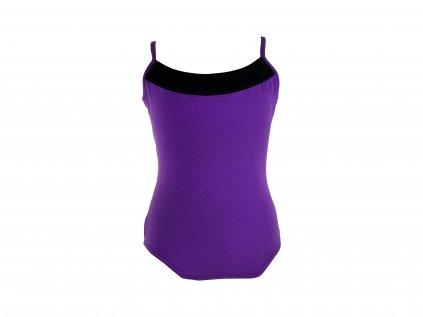Bavlněný gymnastický dres VFstyle na ramínka černo-fialový