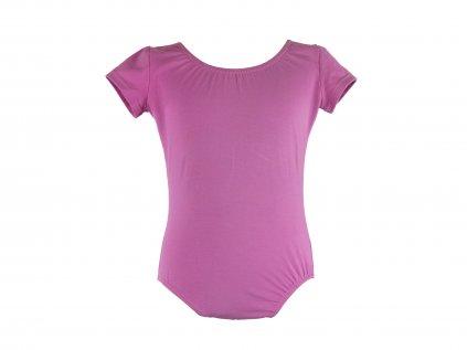 Bavlněný gymnastický dres s krátkým rukávem růžovo-fialový