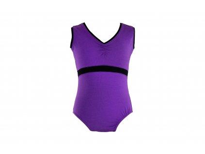 Bavlněný gymnastický dres bez rukávu černo-fialový