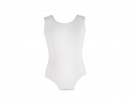 Bavlněný gymnastický dres bez rukávu bílý