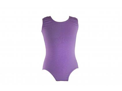 Bavlněný gymnastický dres bez rukávu světle fialový
