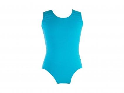 Bavlněný gymnastický dres bez rukávu tyrkysový