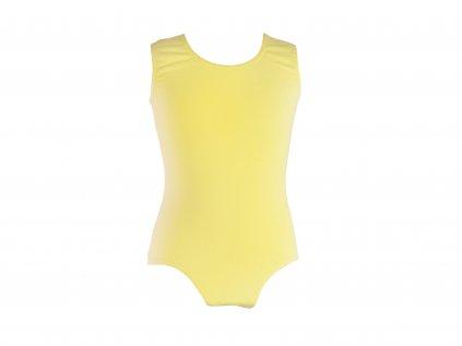 Bavlněný gymnastický dres bez rukávu světle žlutý
