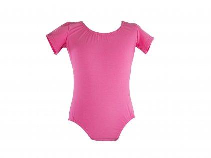 Bavlněný gymnastický dres s krátkým rukávem světle růžový