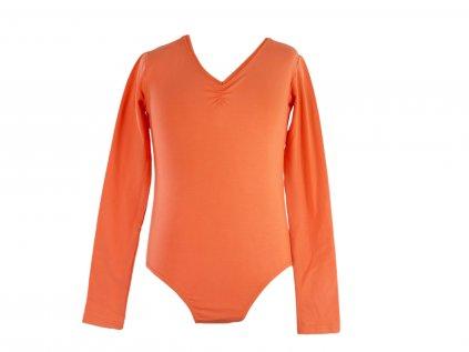 Bavlněný gymnastický dres s dlouhým rukávem oranžový