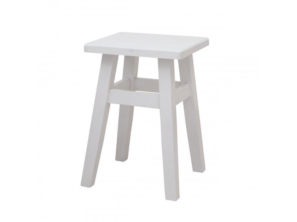 Dřevěný taburet - bílý