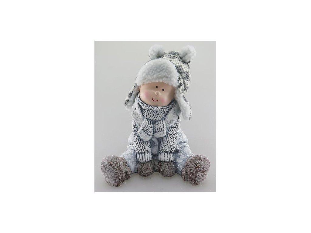 Postavicka Xecco 15553, Chlapec sediaci s čiapkou, terakota, 19 cm