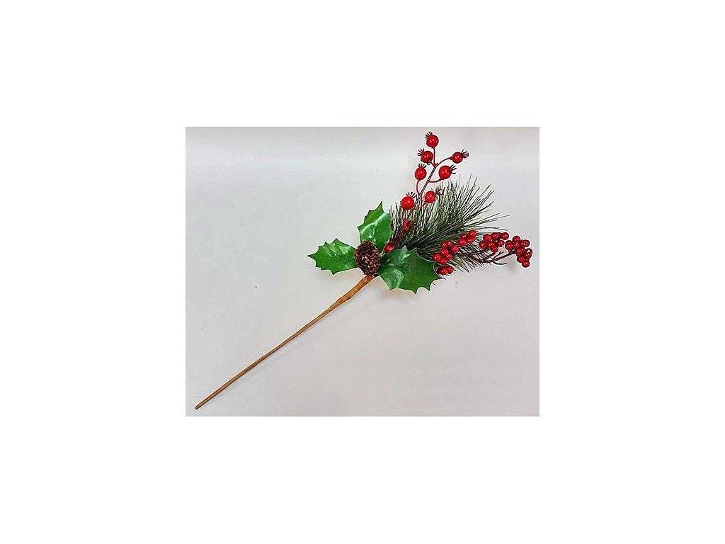 Vetvicka PineHocobe.Red, červená, borovica/bobuľky, 15/38 cm, bal. 3 ks