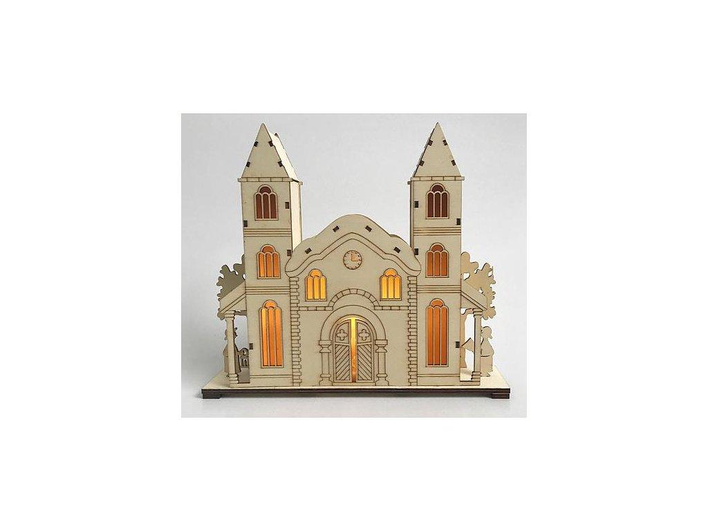 Dekoracia Woodeco 11275, Kostol, 3xLED, 27x5x22 cm