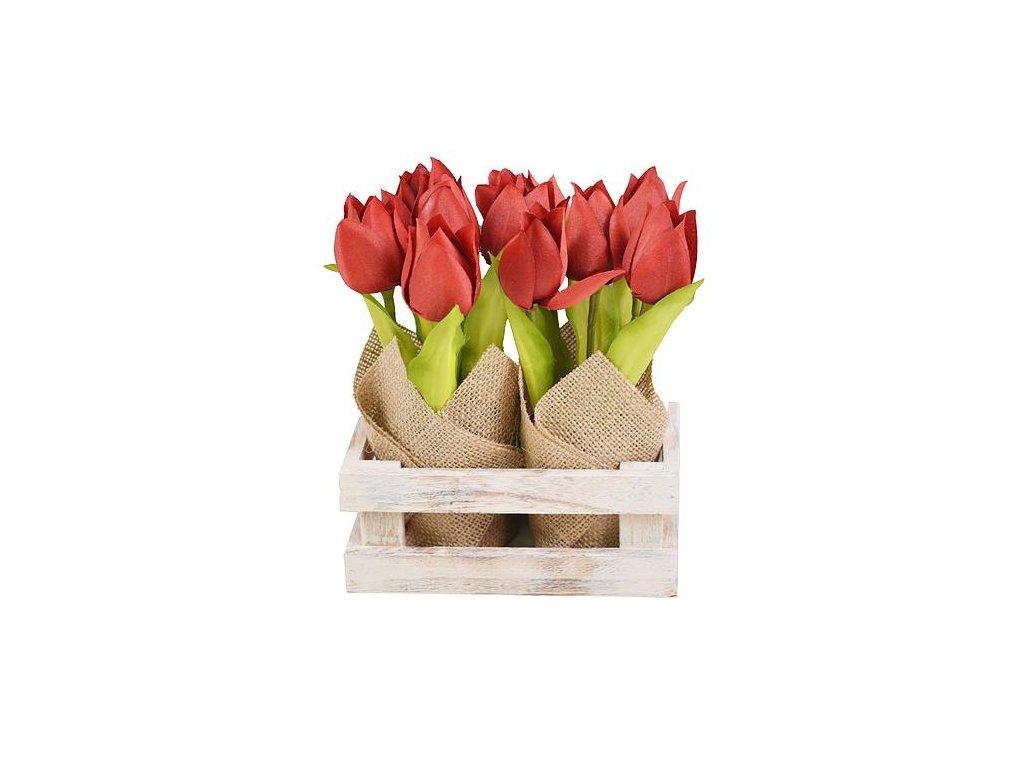 Tulipány MagicHome CX0147, 20 cm, obal - ľan, drevo