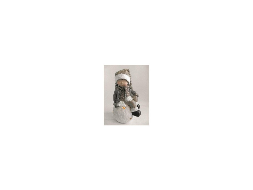 Postavicka Xecco 185060, Chlapček na snehovej guli LED, magnesia