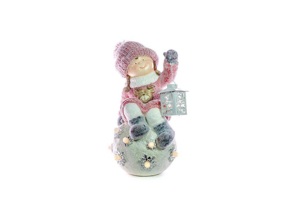 Postavicka Xecco 18586, Dievčatko s lampášikom sediace na guli LED, magnesia