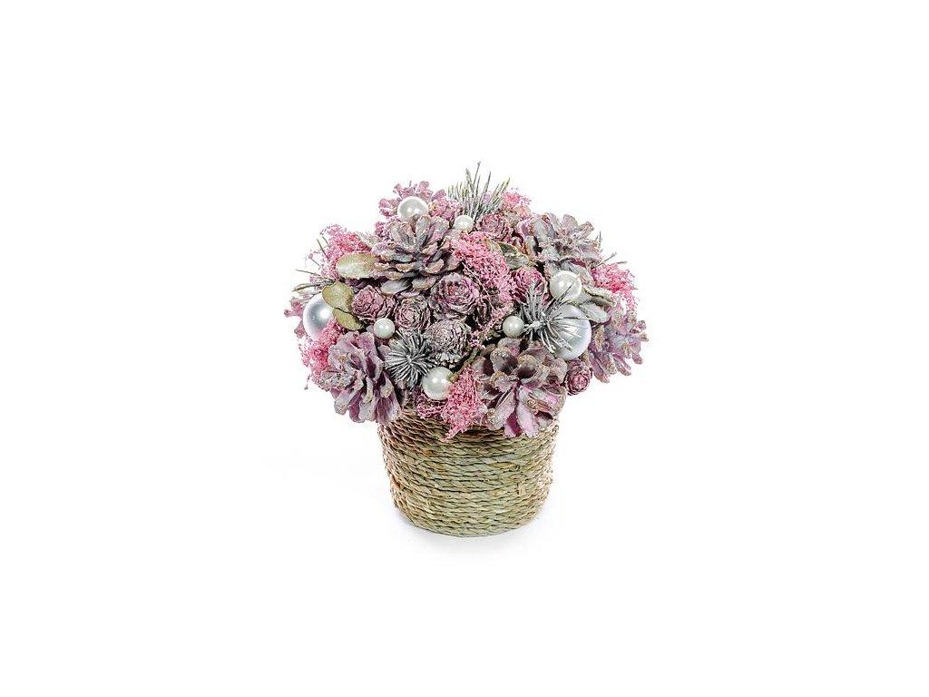 Ikebana prírodná MagicHome, ružová, 20 cm
