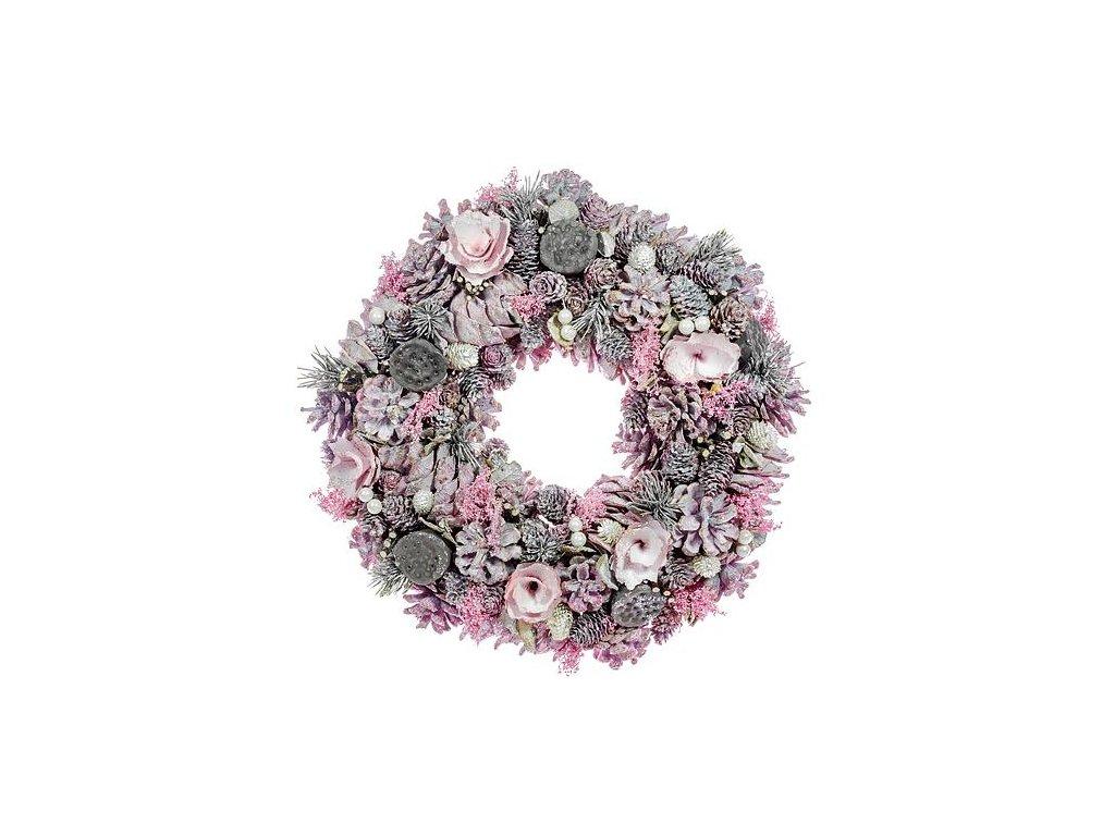 Veniec prírodný MagicHome, ružový, 35 cm