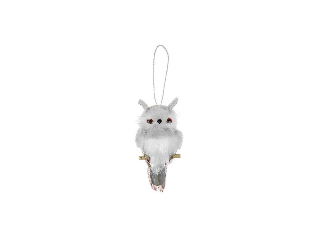 Sova závesná MagicHome, sivá, 18 cm,