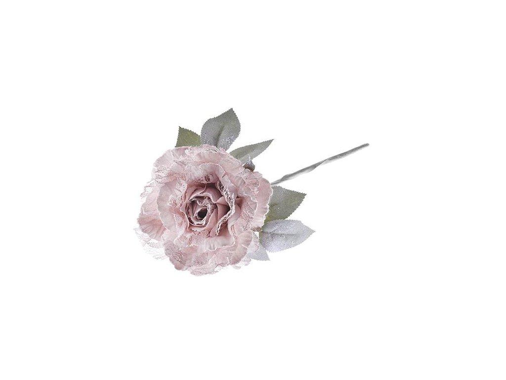 Kvet pivónia s listom, ružová, stonka, bal. 6 ks