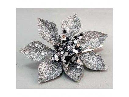 Kvet Poinsettia Gliterclip.Silver, strieborná, 10 cm