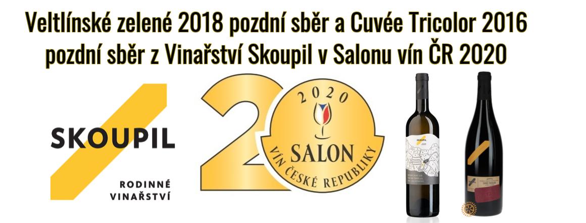 Veltlínské zelené 2018 pozdní sběr a Cuvée Tricolor 2016 pozdní sběr z Vinařství Skoupil v Salonu vín ČR 2020