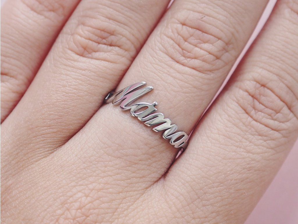 Prsten stříbrný Máma