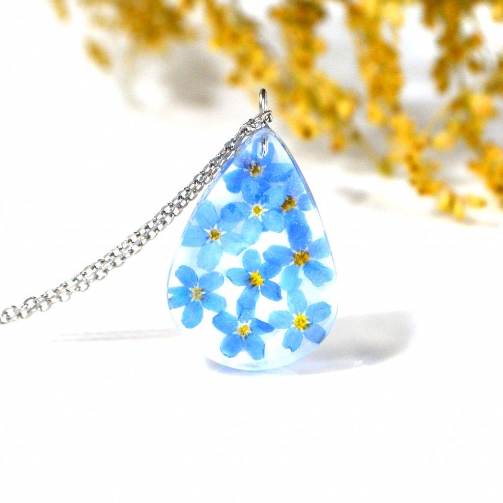 pomněnková kapka náhrdelník (3)