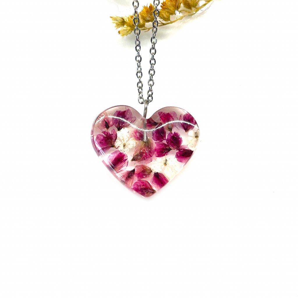růžové srdíčko náhrdelník (2)