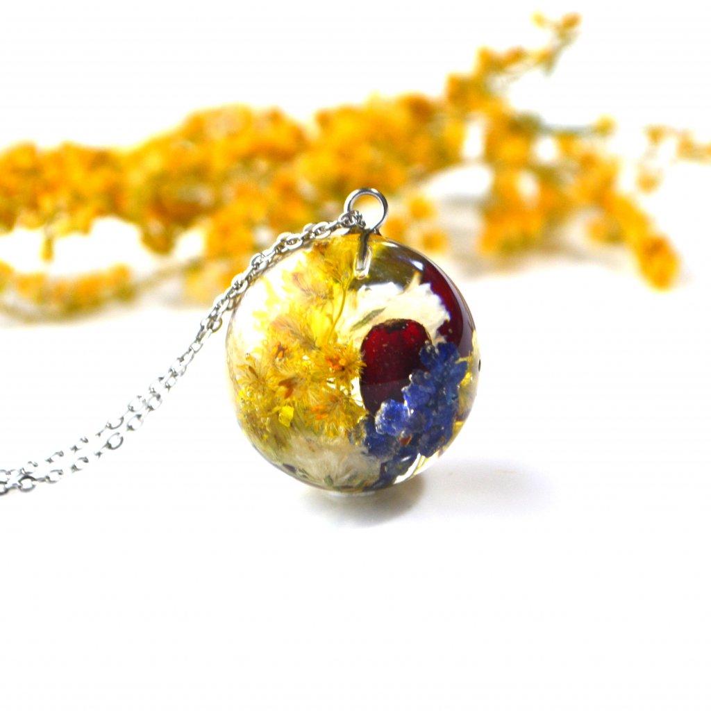 žluto růžové srdce náhrdelník (1)