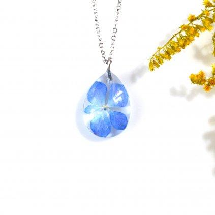 modrý náhrdelník s hortenzií (1)